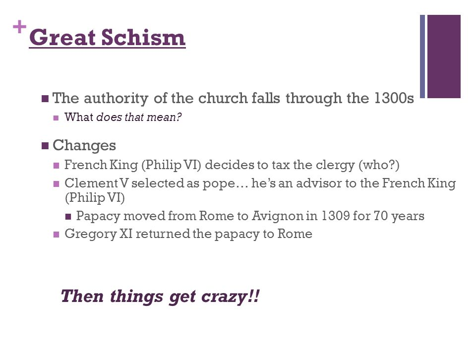+ Great Schism The authority of the church falls through the 1300s What does that mean.