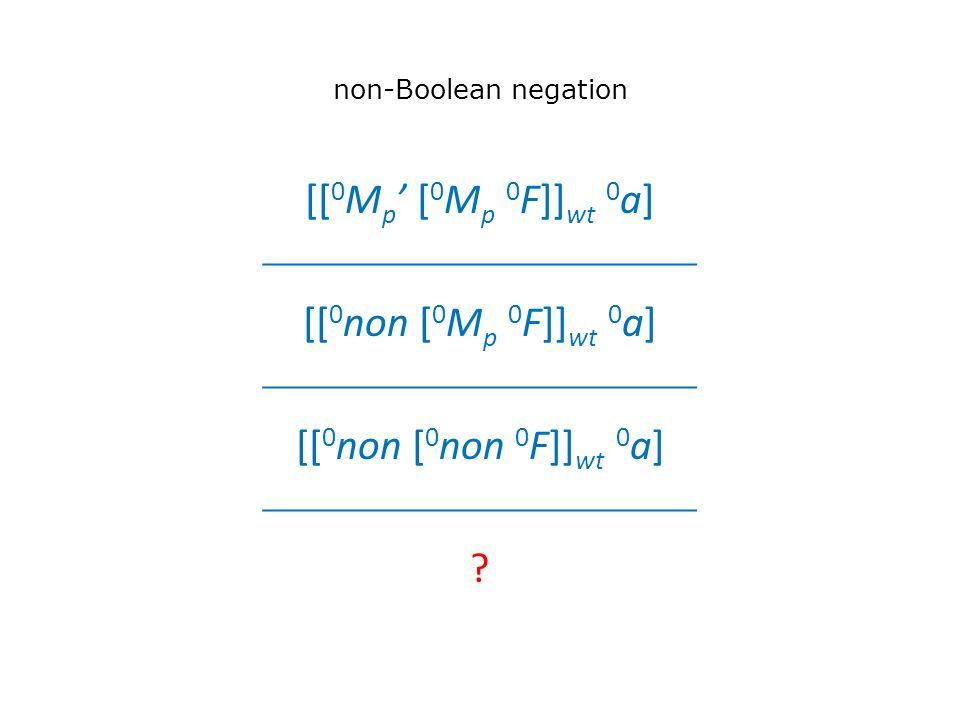 non-Boolean negation [[ 0 M p ' [ 0 M p 0 F]] wt 0 a]  [[ 0 non [ 0 M p 0 F]] wt 0 a]  [[ 0 non [ 0 non 0 F]] wt 0 a] 