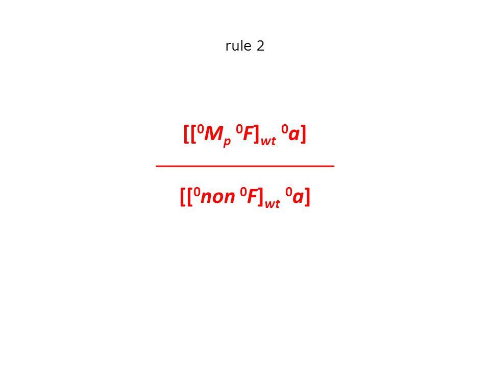 rule 2 [[ 0 M p 0 F] wt 0 a]  [[ 0 non 0 F] wt 0 a]