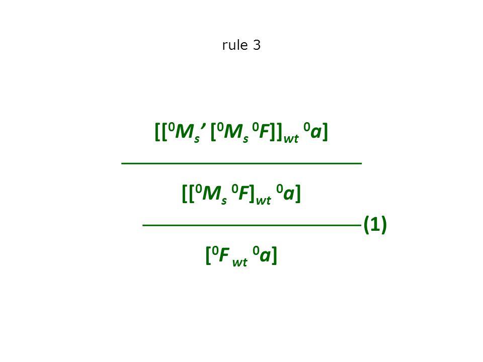 rule 3 [[ 0 M s ' [ 0 M s 0 F]] wt 0 a]  [[ 0 M s 0 F] wt 0 a]  (1) [ 0 F wt 0 a]