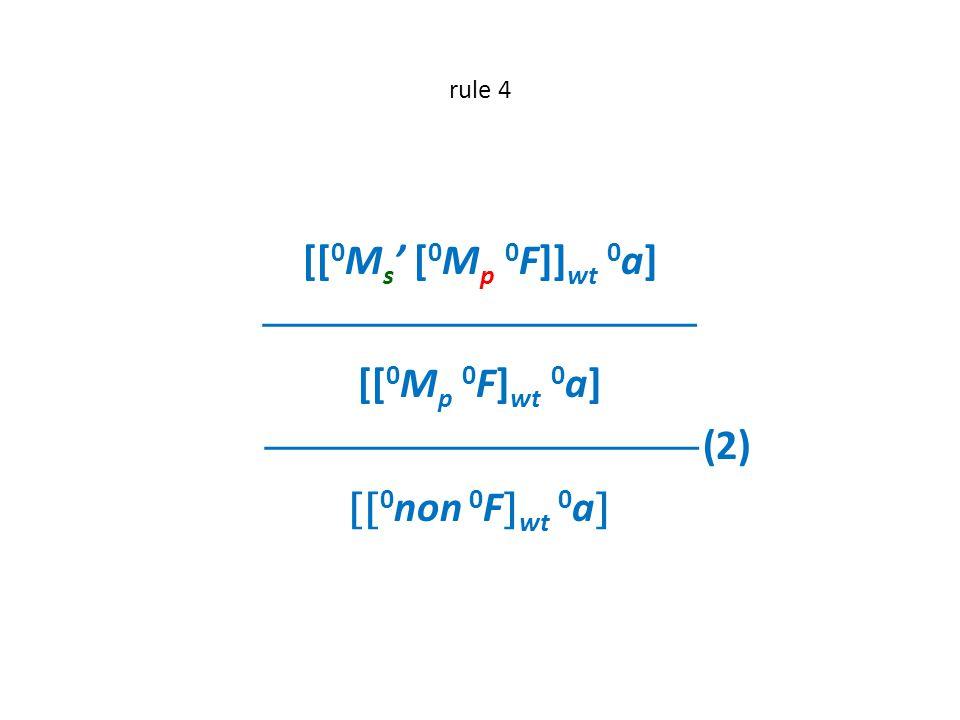 rule 4 [[ 0 M s ' [ 0 M p 0 F]] wt 0 a]  [[ 0 M p 0 F] wt 0 a]  (2)  0 non 0 F  wt 0 a 