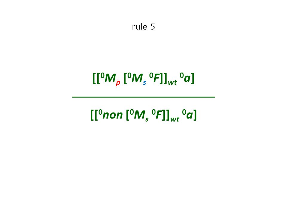 rule 5 [[ 0 M p [ 0 M s 0 F]] wt 0 a]  [[ 0 non [ 0 M s 0 F]] wt 0 a]
