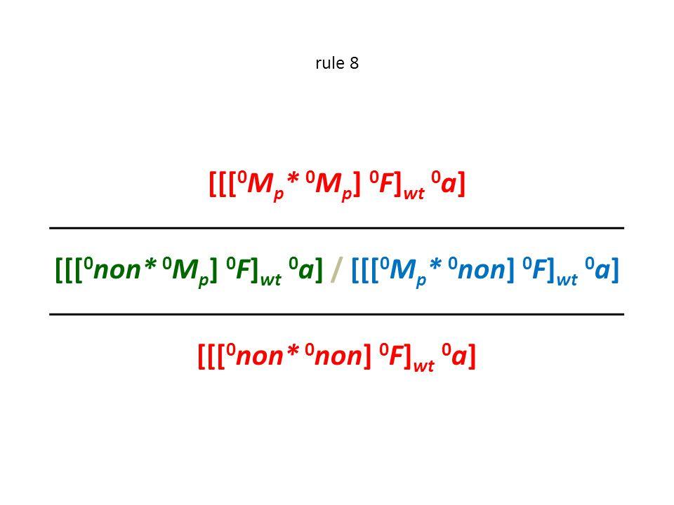 rule 8 [[[ 0 M p * 0 M p ] 0 F] wt 0 a]  [[[ 0 non* 0 M p ] 0 F] wt 0 a] / [[[ 0 M p * 0 non] 0 F] wt 0 a]  [[[ 0 non* 0 non] 0 F] wt 0 a]