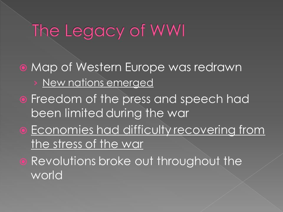  Map of Western Europe was redrawn › New nations emerged  Freedom of the press and speech had been limited during the war  Economies had difficulty recovering from the stress of the war  Revolutions broke out throughout the world