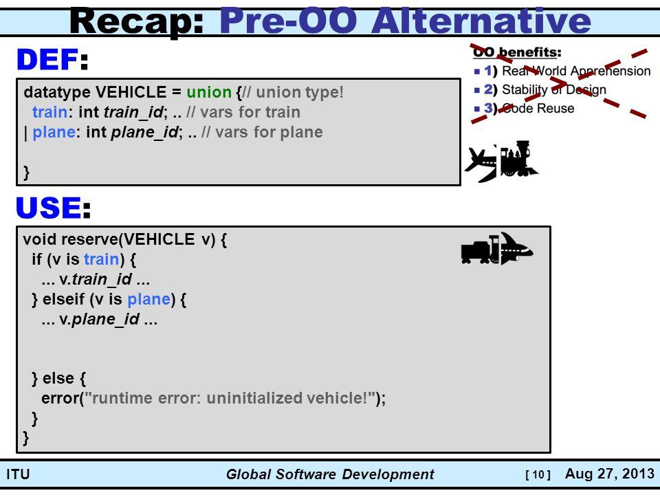 [ 10 ] Global Software Development Aug 27, 2013 ITU Recap: Pre-OO Alternative datatype VEHICLE = union {// union type.