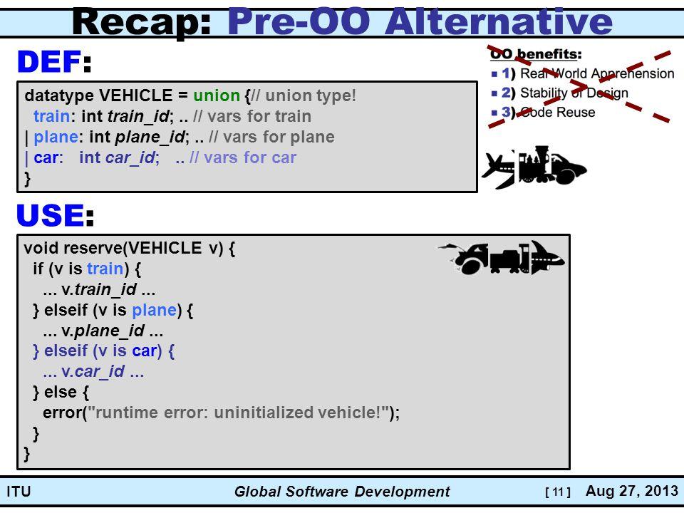 [ 11 ] Global Software Development Aug 27, 2013 ITU Recap: Pre-OO Alternative datatype VEHICLE = union {// union type.