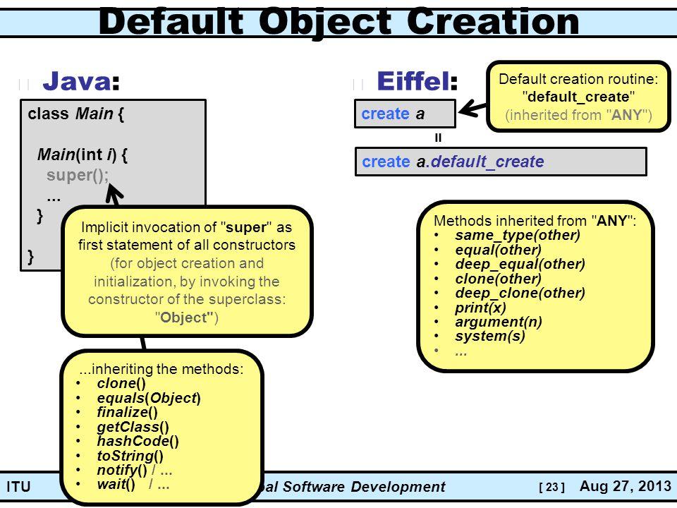[ 23 ] Global Software Development Aug 27, 2013 ITU Default Object Creation Java: Eiffel: class Main { Main(int i) { super();...