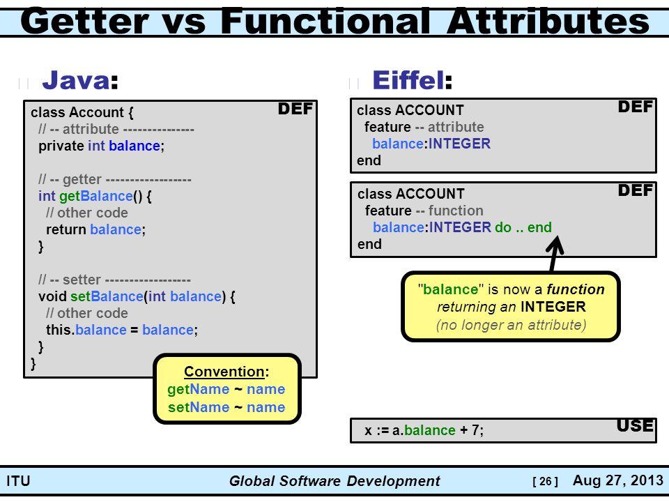 [ 26 ] Global Software Development Aug 27, 2013 ITU Getter vs Functional Attributes Java: Eiffel: class ACCOUNT feature -- attribute balance:INTEGER end x := a.balance + 7; DEF USE class Account { // -- attribute --------------- private int balance; // -- getter ------------------ int getBalance() { // other code return balance; } // -- setter ------------------ void setBalance(int balance) { // other code this.balance = balance; } } class ACCOUNT feature -- function balance:INTEGER do..