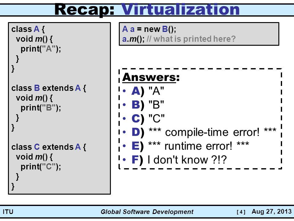 [ 4 ] Global Software Development Aug 27, 2013 ITU Recap: Virtualization class A { void m() { print( A ); } } class B extends A { void m() { print( B ); } } class C extends A { void m() { print( C ); } } A a = new B(); a.m(); // what is printed here.