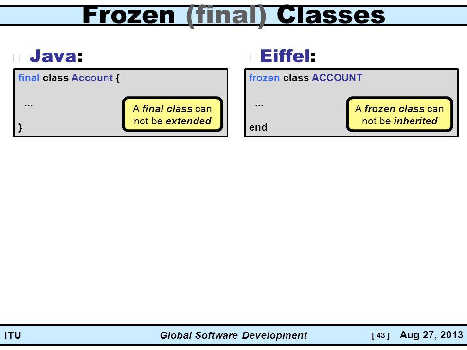 [ 43 ] Global Software Development Aug 27, 2013 ITU Frozen (final) Classes Java: Eiffel: frozen class ACCOUNT...