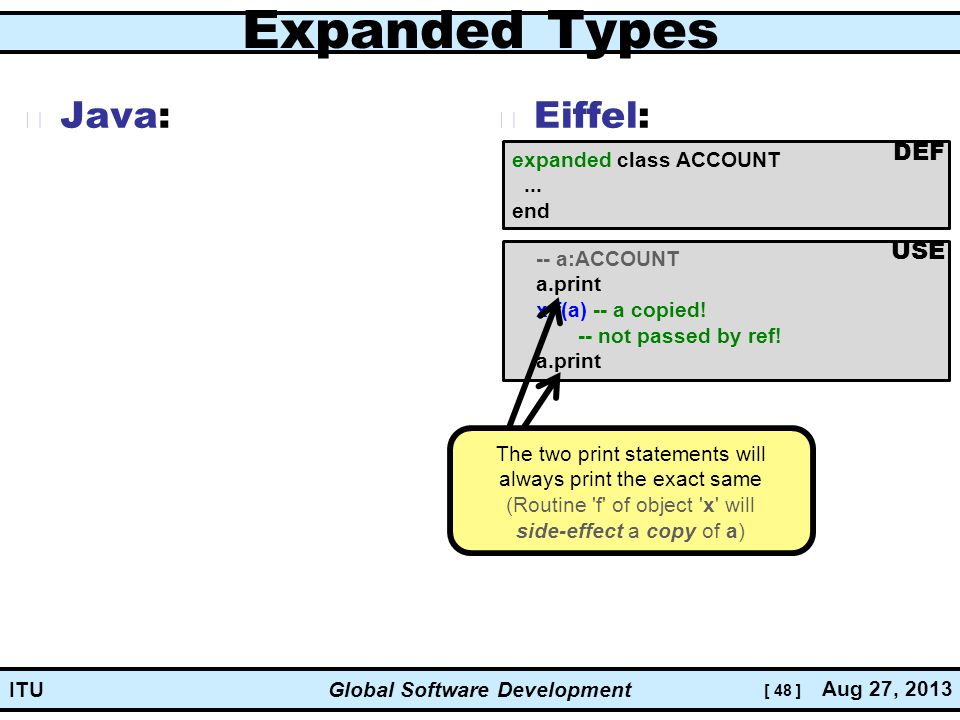[ 48 ] Global Software Development Aug 27, 2013 ITU Expanded Types Java: Eiffel: expanded class ACCOUNT...