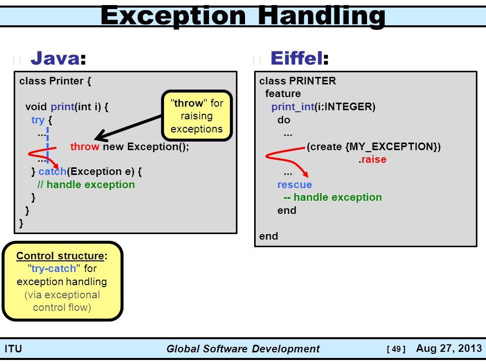 [ 49 ] Global Software Development Aug 27, 2013 ITU Exception Handling Java: Eiffel: class PRINTER feature print_int(i:INTEGER) do...