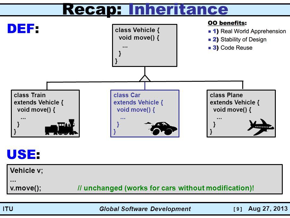 [ 9 ] Global Software Development Aug 27, 2013 ITU Recap: Inheritance class Vehicle { void move() {...