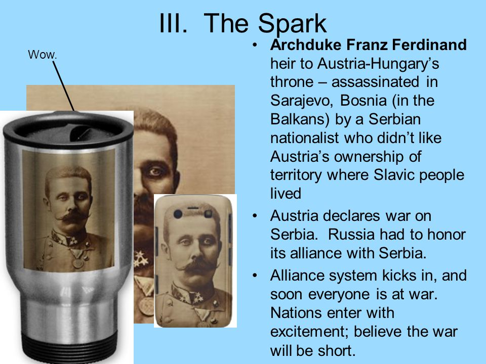 III. The Spark Archduke Franz Ferdinand heir to Austria-Hungary's throne – assassinated in Sarajevo, Bosnia (in the Balkans) by a Serbian nationalist