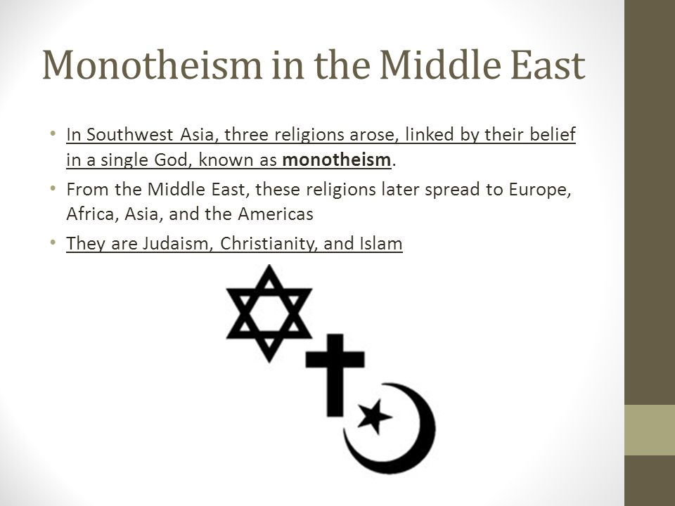 Monotheism in the Middle East In Southwest Asia, three religions arose, linked by their belief in a single God, known as monotheism.