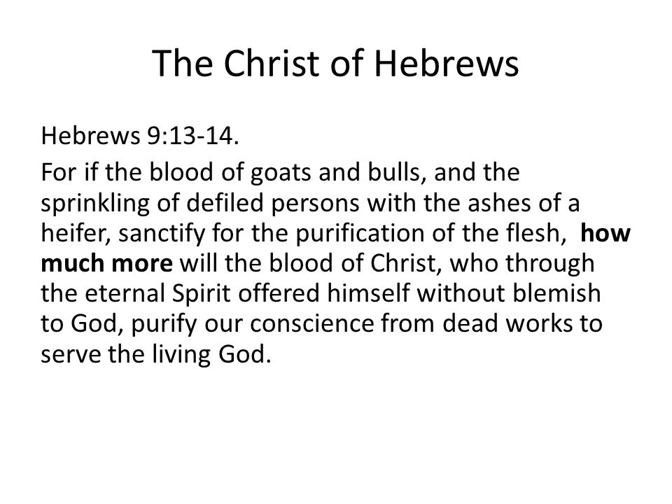 The Christ of Hebrews Hebrews 9:13-14.