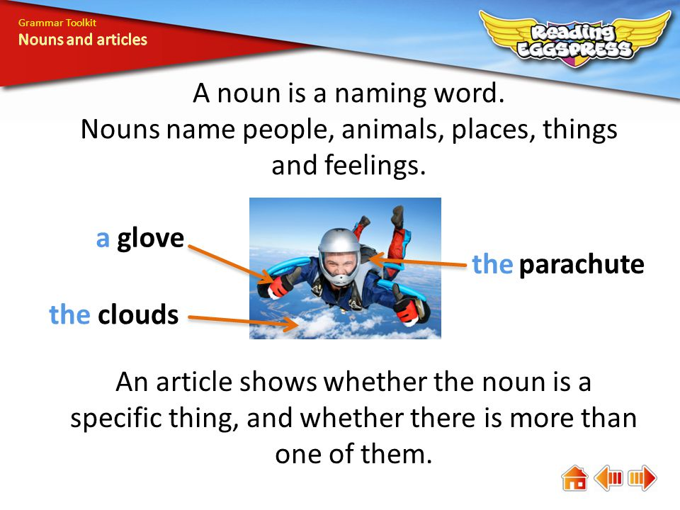 A noun is a naming word. Nouns name people, animals, places, things and feelings.