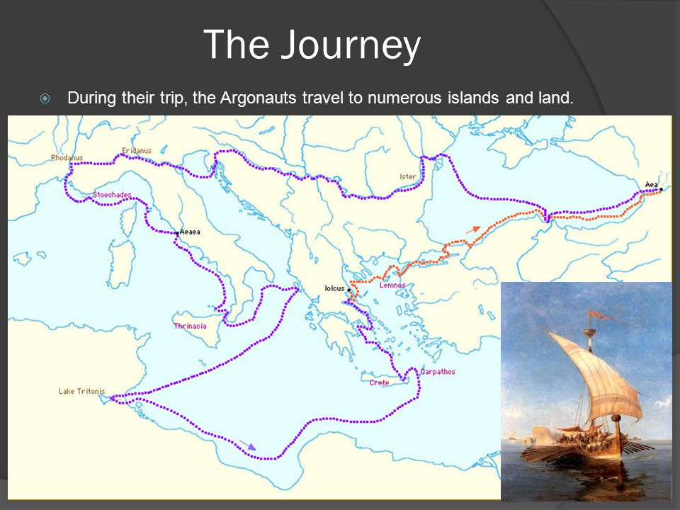 The Journey  During their trip, the Argonauts travel to numerous islands and land.