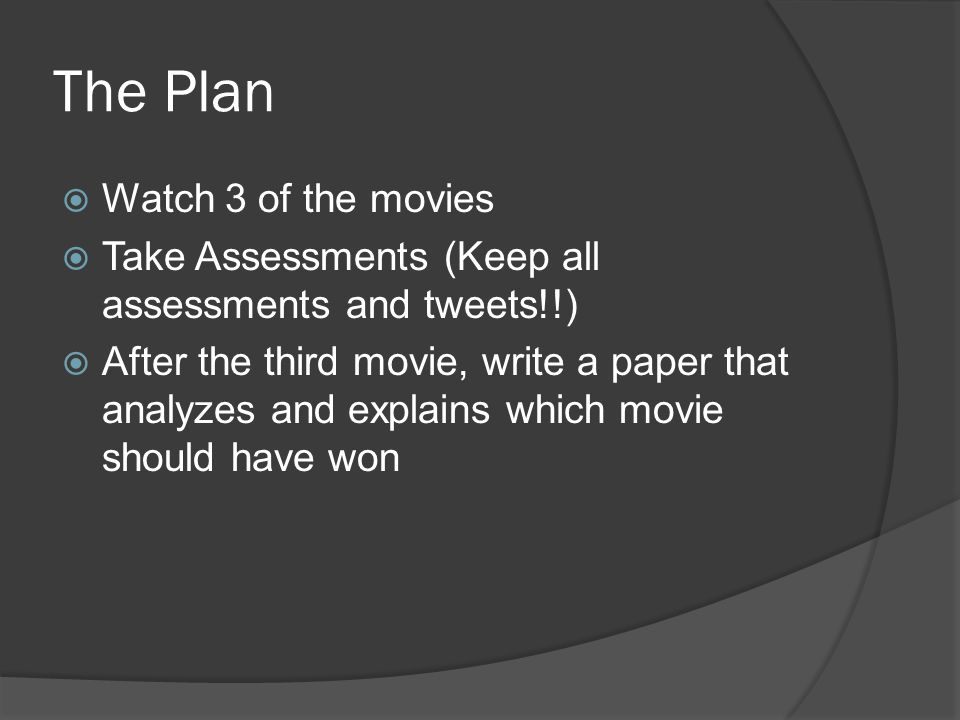The Plan  Watch 3 of the movies  Take Assessments (Keep all assessments and tweets!!)  After the third movie, write a paper that analyzes and expla