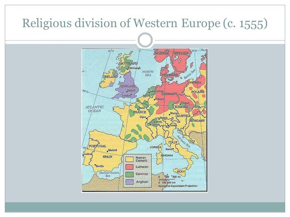 Religious division of Western Europe (c. 1555)