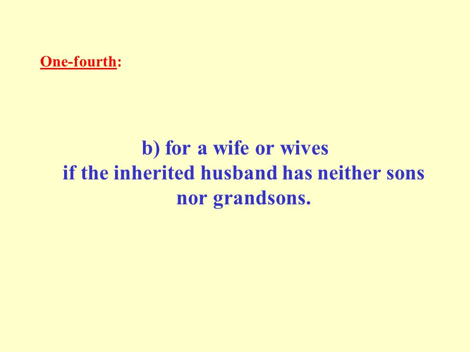 One-fourth: b) for a wife or wives if the inherited husband has neither sons nor grandsons.