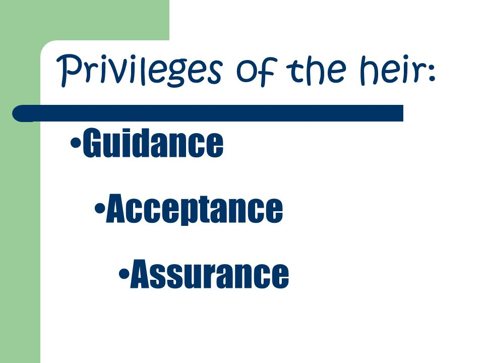 Privileges of the heir: Guidance Acceptance Assurance
