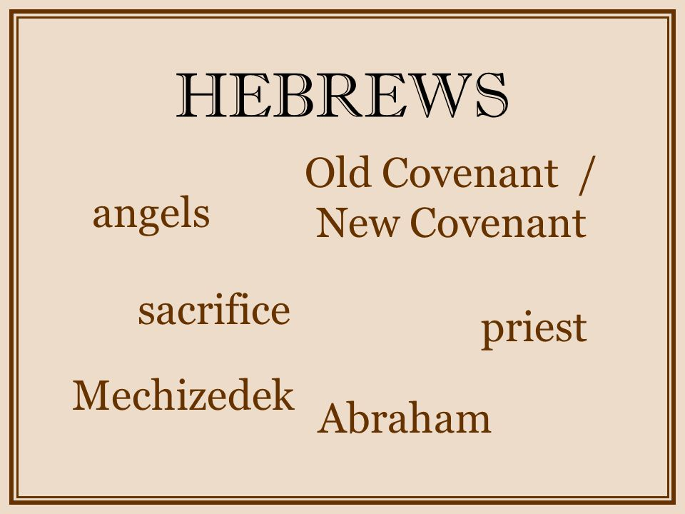 HEBREWS angels sacrifice priest Abraham Mechizedek Old Covenant / New Covenant