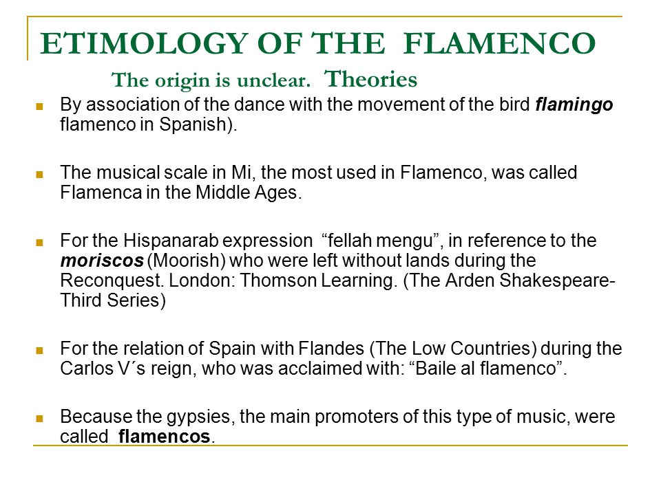 ETIMOLOGY OF THE FLAMENCO The origin is unclear.