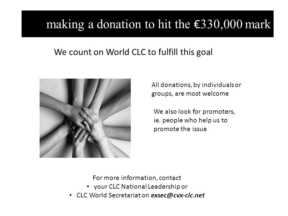 making a donation to hit the € 330,000 mark All donations, by individuals or groups, are most welcome We also look for promoters, ie.