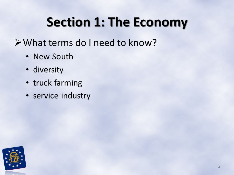 Section 1: The Economy  What terms do I need to know? New South diversity truck farming service industry 4