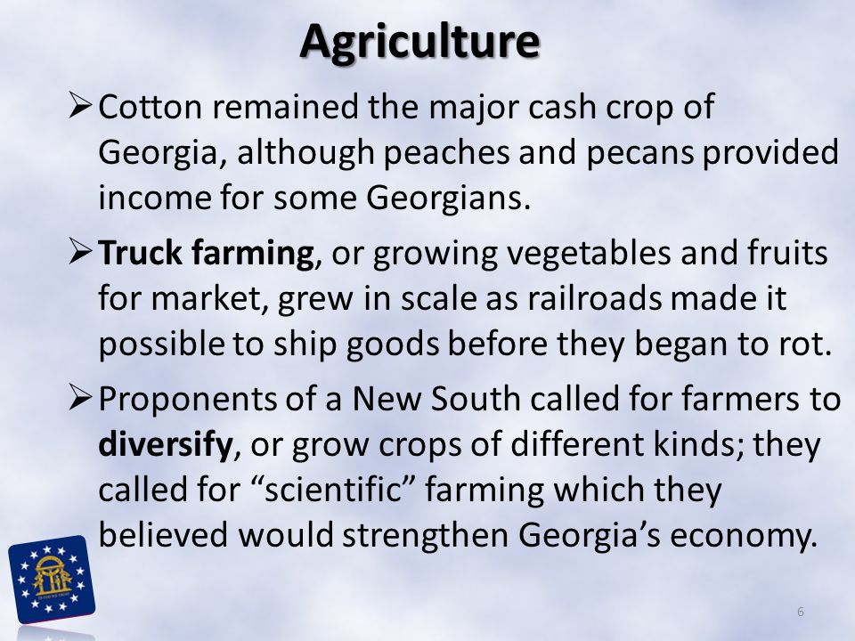 Agriculture  Cotton remained the major cash crop of Georgia, although peaches and pecans provided income for some Georgians.  Truck farming, or grow