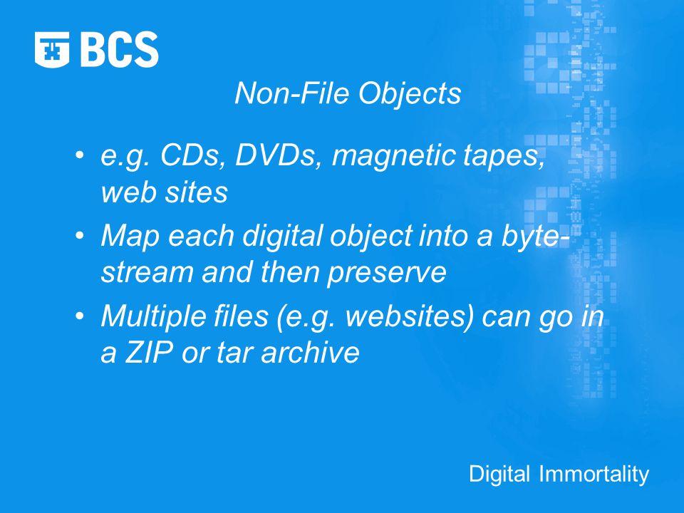 Digital Immortality Non-File Objects e.g.