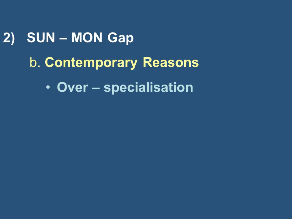 2) SUN – MON Gap b. Contemporary Reasons Over – specialisation