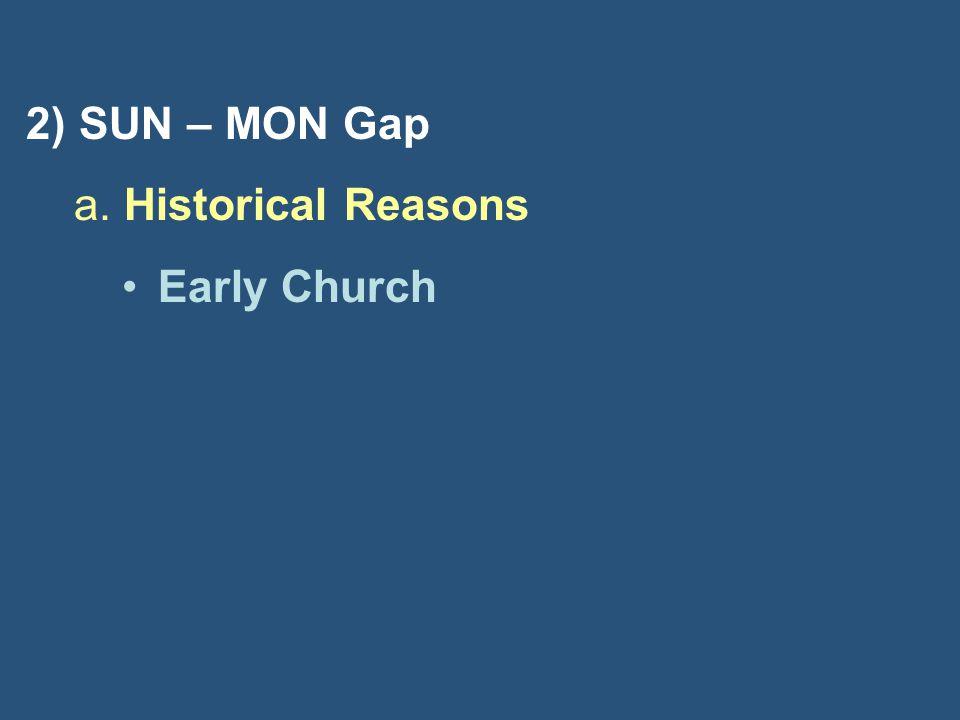 2) SUN – MON Gap a. Historical Reasons Early Church