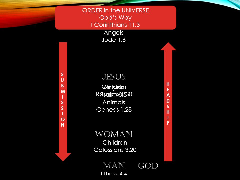 ORDER in the UNIVERSE God's Way I Corinthians 11.3 GOD JESUS MAN WOMAN SUBMISSIONSUBMISSION HEADSHIPHEADSHIP Animals Genesis 1.28 Angels Psalm 8.5 Children Colossians 3.20 Angels Jude 1.6 Children Romans 1.30 Animals Genesis 1.28 MAN I Thess.