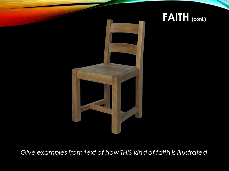 Give examples from text of how THIS kind of faith is illustrated FAITH (cont.)