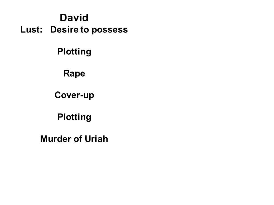 David Lust: Desire to possess Plotting Rape Cover-up Plotting Murder of Uriah