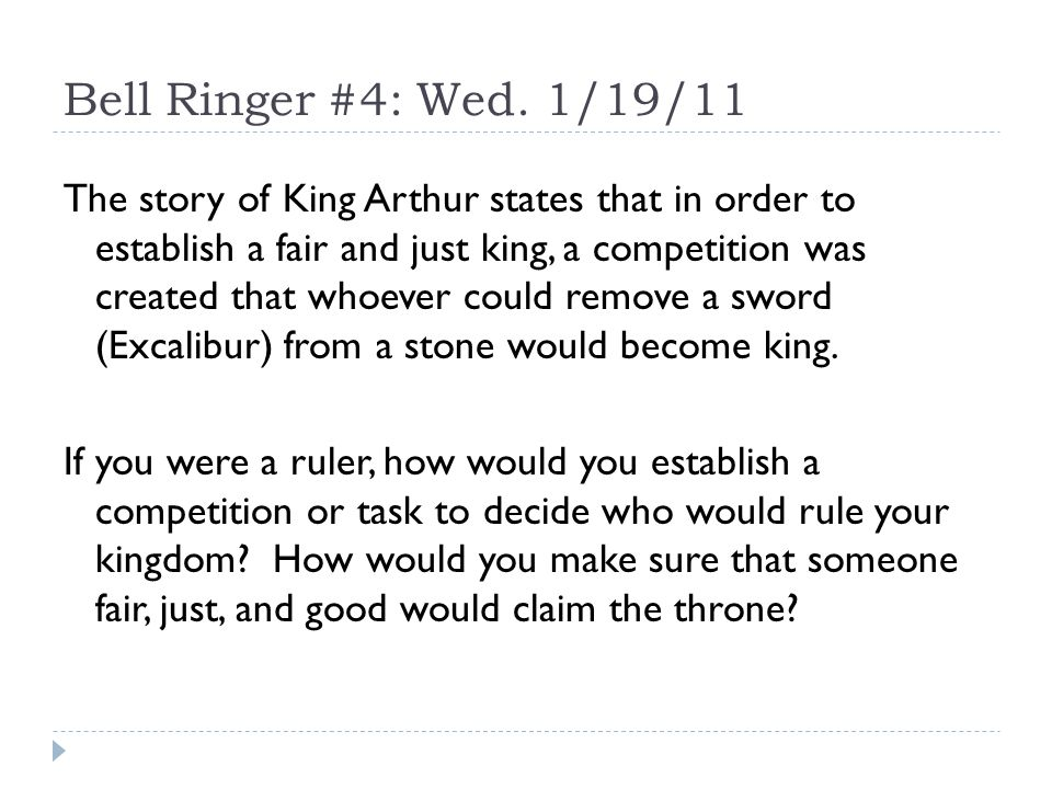 Day One: King Arthur