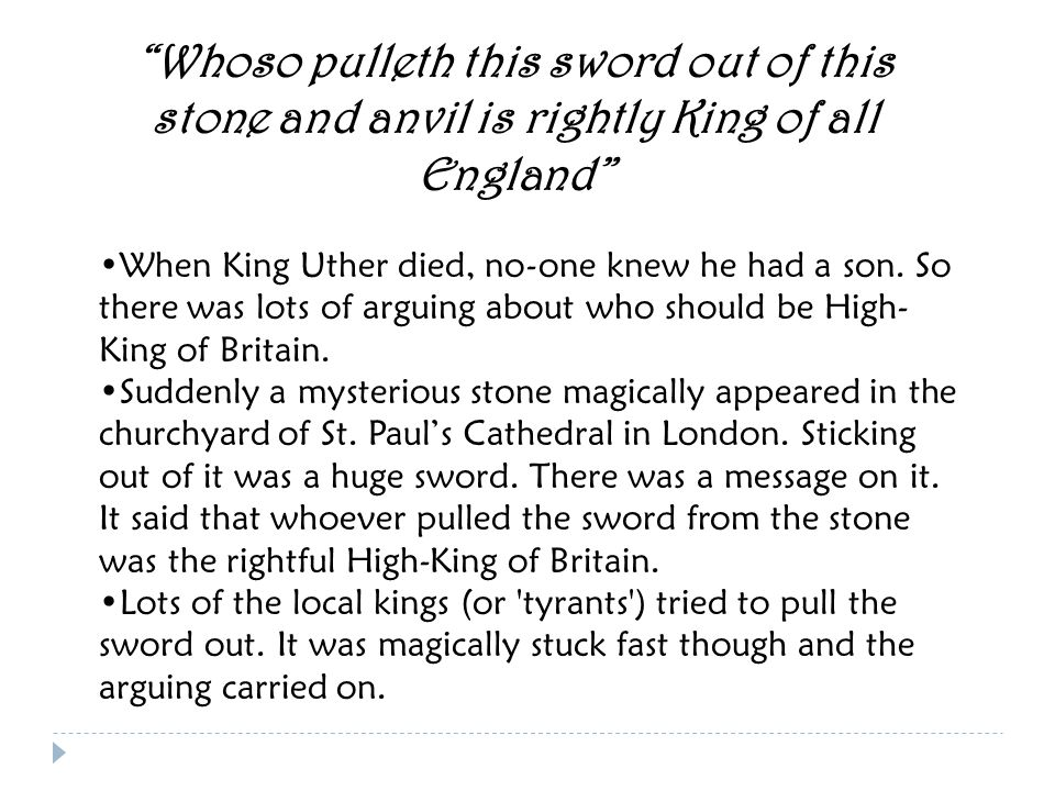 The Legend Begins… Uther, the High-King of Britain fell in love with the Lady Igraine, but she was already married to Gorlois, the Duke of Tintagel.