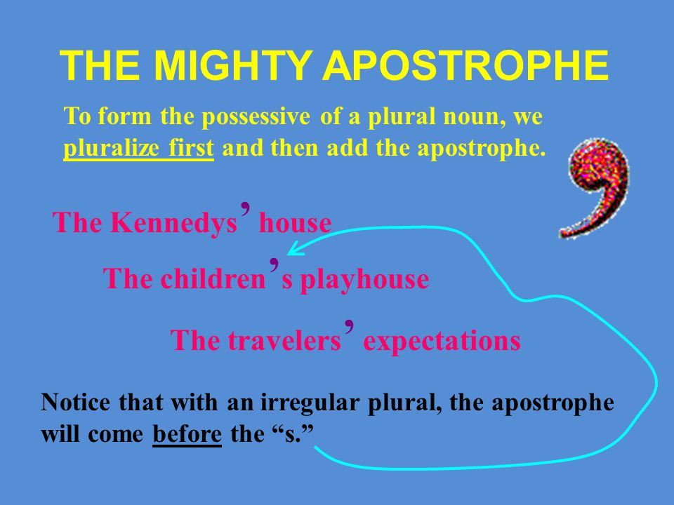 THE MIGHTY APOSTROPHE To form the possessive of an inanimate object, we're usually better off using an of phrase, but the apostrophe possessive is not impossible, especially with expressions of time and in personifications.