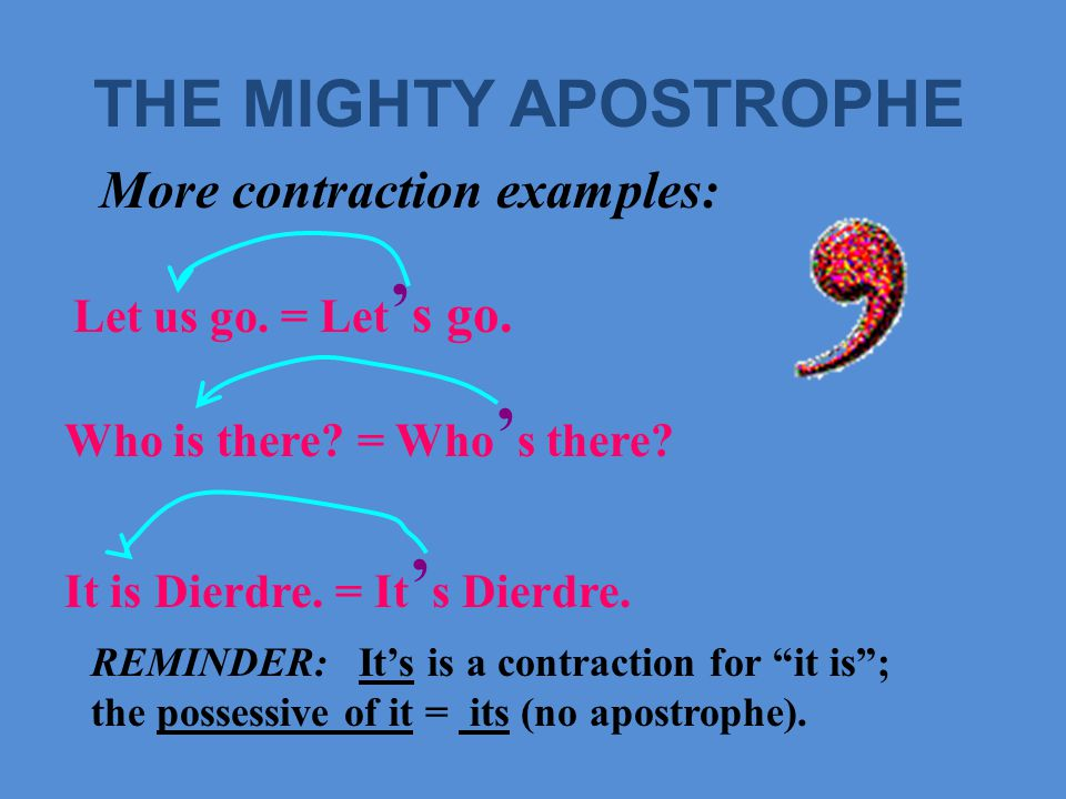 THE MIGHTY APOSTROPHE A contraction allows us to blend sounds by omitting letters from a verb construction.