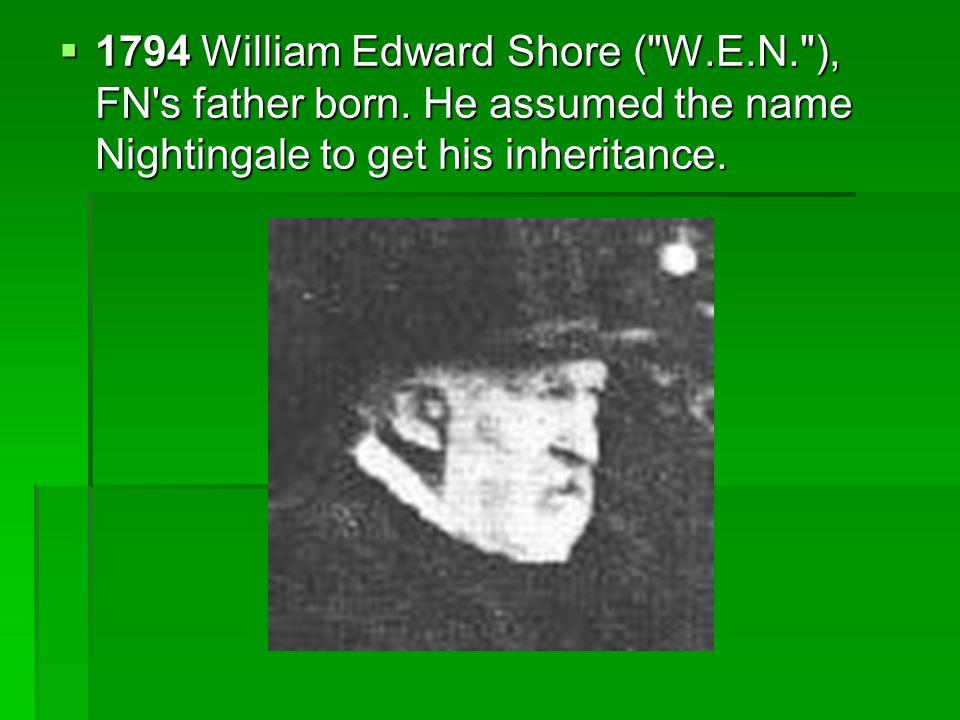  1794 William Edward Shore ( W.E.N. ), FN s father born.