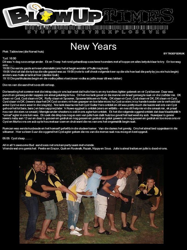 New Years Plek: Tableview (die Norval huis) Tyd: 16:00 Dit was 'n dag soos enige ander.