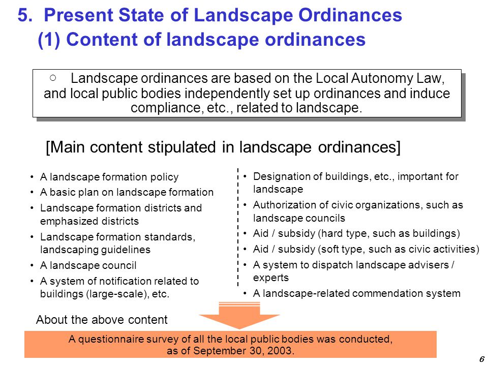 ○ Landscape ordinances are based on the Local Autonomy Law, and local public bodies independently set up ordinances and induce compliance, etc., related to landscape.