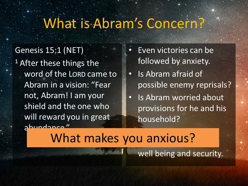 What is Abram's Concern.