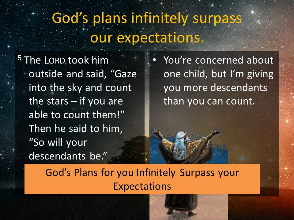 God's plans infinitely surpass our expectations.