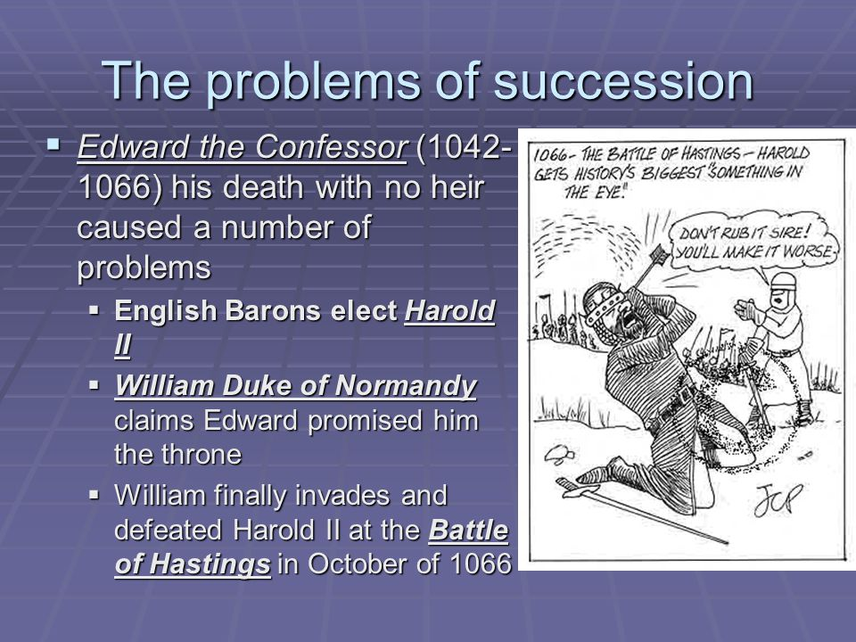 William I (1066-1087)  Subdued Saxon revolts  Built castles  Gave his Norman Barons 5/6 of the land  Loyalty oaths  Domesday Book (1085) Census