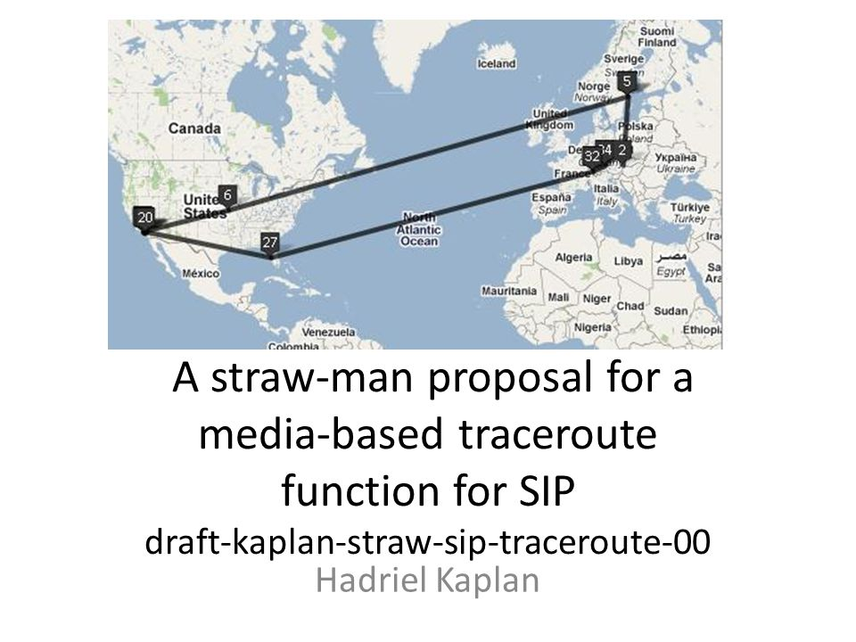 A straw-man proposal for a media-based traceroute function for SIP draft-kaplan-straw-sip-traceroute-00 Hadriel Kaplan