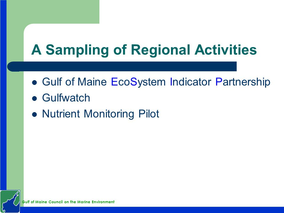 Gulf of Maine Council on the Marine Environment A Sampling of Regional Activities Gulf of Maine EcoSystem Indicator Partnership Gulfwatch Nutrient Monitoring Pilot