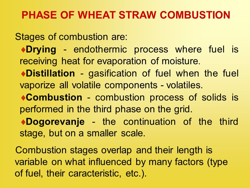 PHASE OF WHEAT STRAW COMBUSTION Stages of combustion are:  Drying - endothermic process where fuel is receiving heat for evaporation of moisture.  D